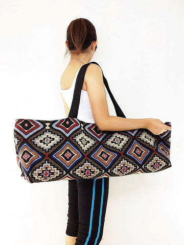 Handmade Yoga Mat Bag Sports Bags Woven Cotton Yoga Bag Tote Yoga Sling bag Pilates Bag Pilates Mat Bag Canvas Bag Women yoga bag (WF41)