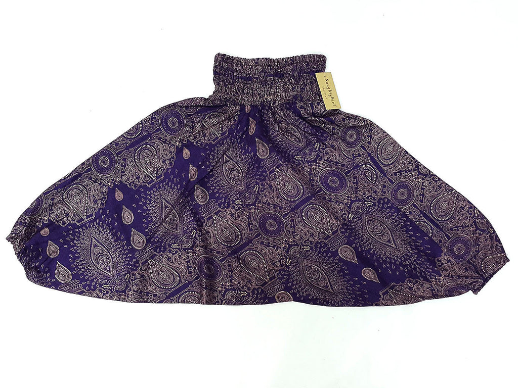 KIDS SIZE 7-8yrs Unisex Kids Handmade Pants Yoga Purple, Aladdin Pants Boho Pants Gypsy Rayon Paisley Purple (HP190)