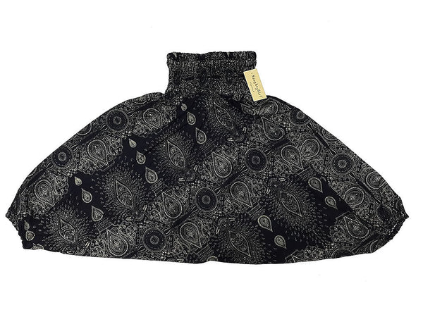 KIDS SIZE 7-8yrs Unisex Kids Handmade Pants Yoga Black, Aladdin Pants Boho Pants Gypsy Rayon Paisley Black (HP189)