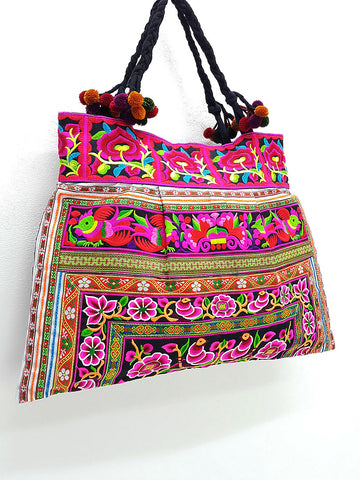 Thai Hill Tribe Bag Pom Pom Hmong Thai Bag Embroidered Ethnic Purse Bag Woven Bag Hippie Bag Hobo Bag Boho Bag Shoulder Bag: Hot Pink Black