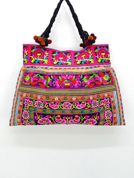 Thai Hill Tribe Bag Pom Pom Hmong Embroidered Ethnic Purse Woven Bag Hippie Bag Hobo Bag Boho Bag Shoulder Bag: Hot Pink Black, VeradaShop, HaremPantsThai