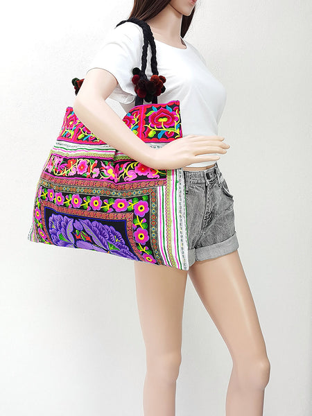 Thai Hill Tribe Bag Pom Pom Hmong Embroidered Ethnic Purse Woven Bag Hippie Bag Hobo Bag Boho Bag Shoulder Bag: Violet Purple, VeradaShop, HaremPantsThai
