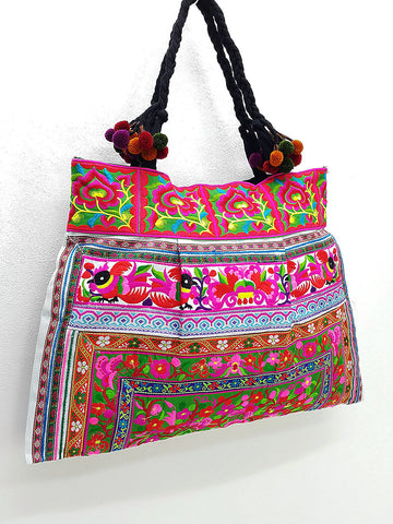 Thai Hill Tribe Bag Pom Pom Hmong Thai Bag Embroidered Ethnic Purse Bag Woven Bag Hippie Bag Hobo Bag Boho Bag Shoulder Bag: Hot Pink Green