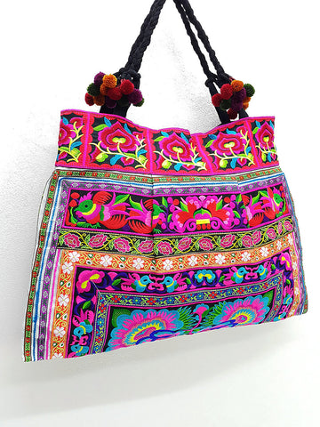 Thai Hill Tribe Bag Pom Pom Hmong Thai Bag Embroidered Ethnic Purse Bag Woven Bag Hippie Bag Hobo Bag Boho Bag Shoulder Bag: Hot Pink Blue