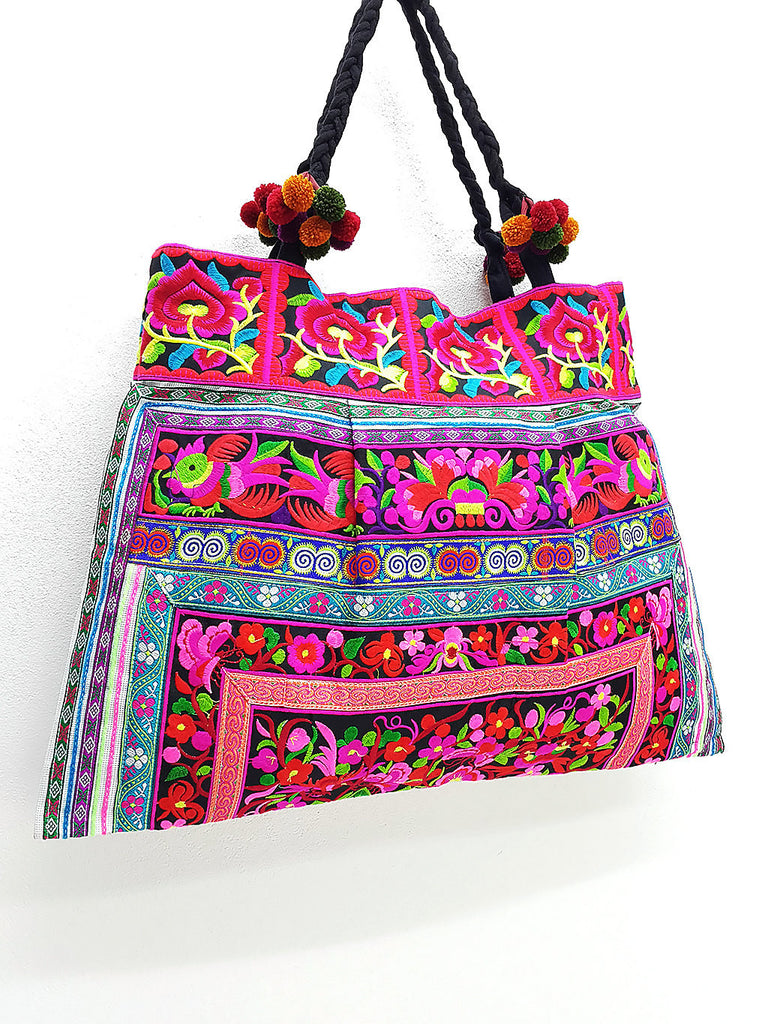 Thai Hill Tribe Bag Pom Pom Hmong Thai Bag Embroidered Ethnic Purse Bag Woven Bag Hippie Bag Hobo Bag Boho Bag Shoulder Bag: Pink Red Black