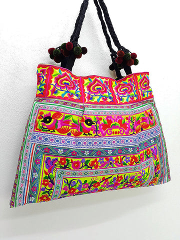 Thai Hill Tribe Bag Pom Pom Hmong Thai Bag Embroidered Ethnic Purse Bag Woven Bag Hippie Bag Hobo Boho Bag Shoulder Bag Green Yellow Violet