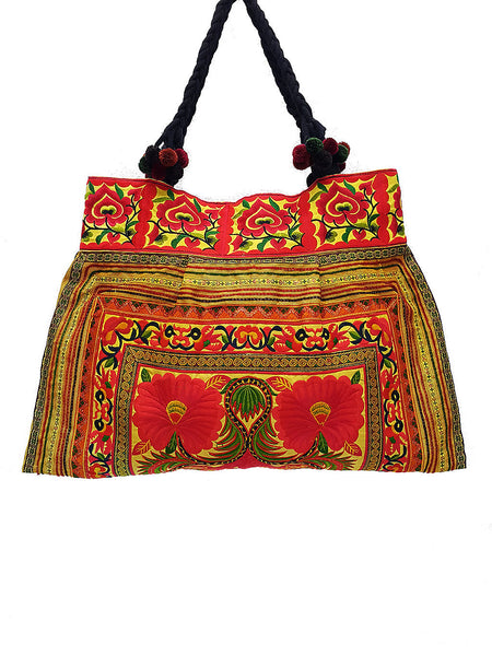 Thai Hill Tribe Bag Pom Pom Hmong Embroidered Ethnic Purse Woven Bag Hippie Bag Hobo Boho Bag Shoulder Bag Gold Yellow Orange, VeradaShop, HaremPantsThai