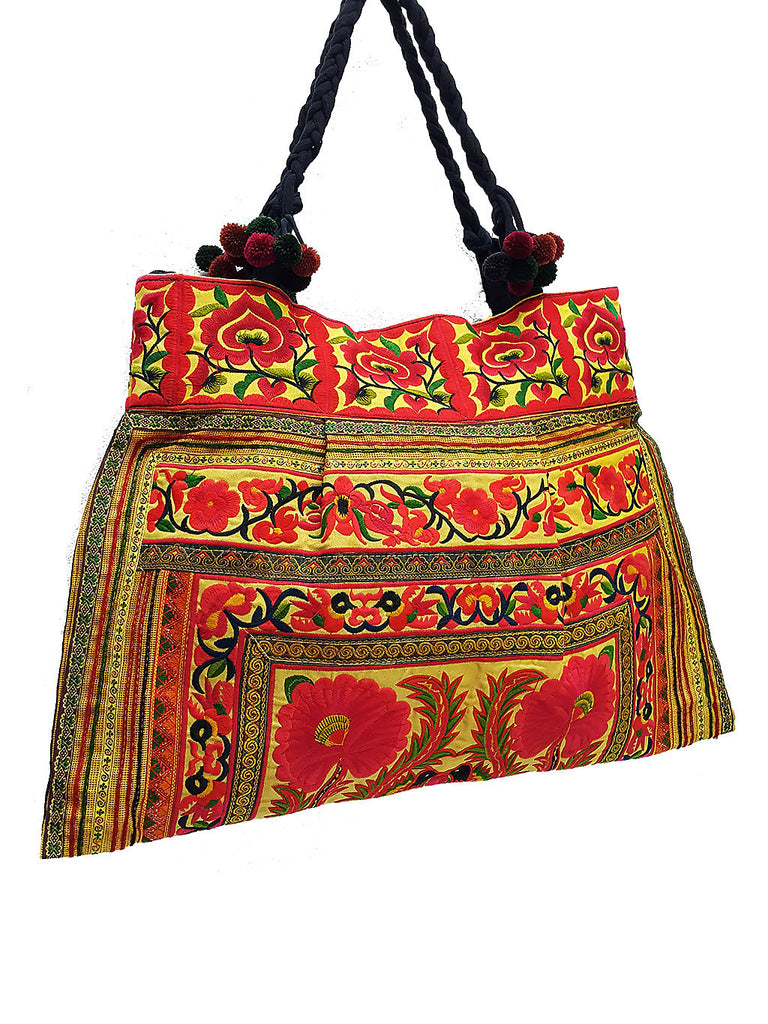 Thai Hill Tribe Bag Pom Pom Hmong Thai Bag Embroidered Ethnic Purse Bag Woven Bag Hippie Bag Hobo Boho Bag Shoulder Bag Gold Yellow Orange