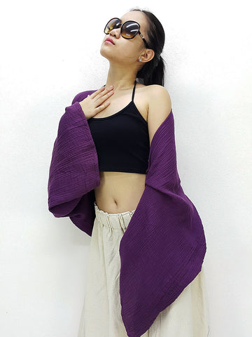Thai Cotton Scarf Double Cotton Gauze Shrug Shawl Wraps Tops Amethyst (SL4)