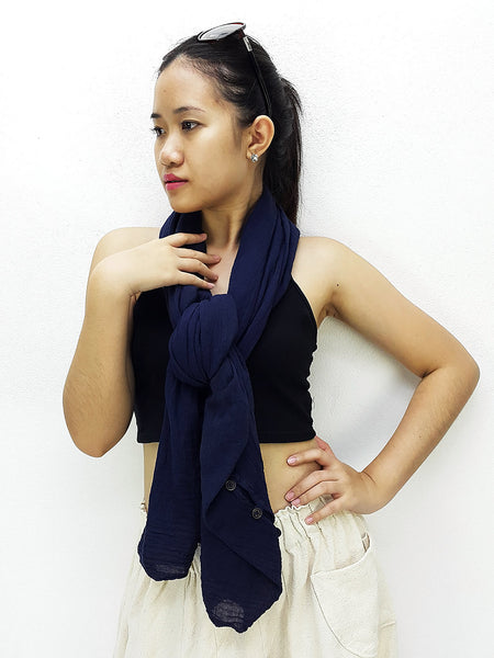 Thai Cotton Scarf Double Cotton Gauze Shrug Shawl Wraps Tops Navy Blue (SL5), NaughtyGirl, HaremPantsThai