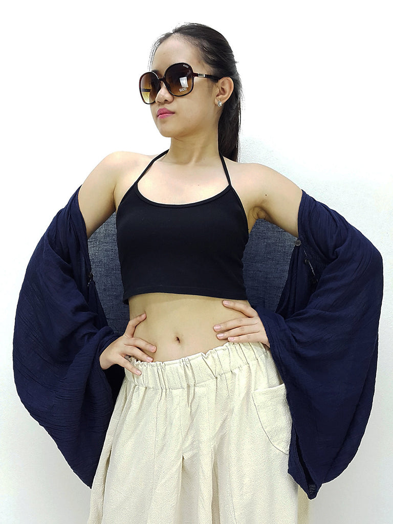 Thai Cotton Scarf Double Cotton Gauze Shrug Shawl Wraps Tops Navy Blue (SL5)