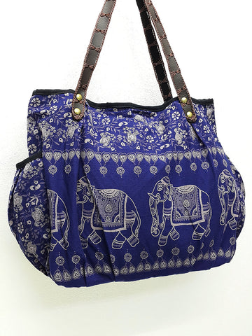 Cotton Handbags Elephant bag Hippie bag Hobo bag Boho bag Shoulder bag Tote bag Nav..., VeradaShop, HaremPantsThai