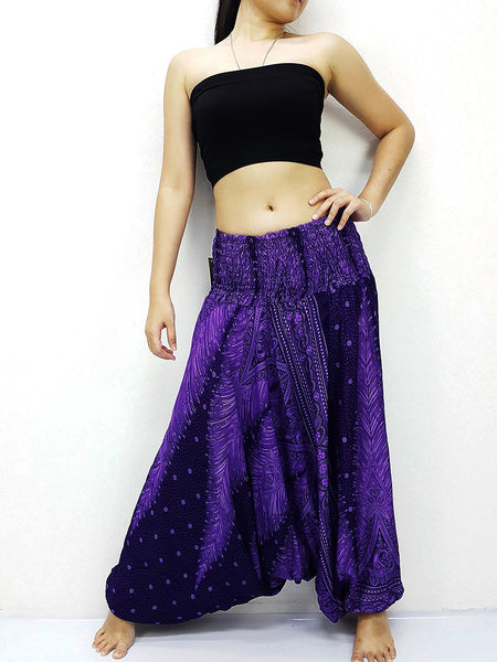 Harem Pants Women Yoga Pants Drop Crotch Aladdin Pants Maxi Pants Boho Pants Gypsy Pants Jumpsuits & Rompers Feather Violet Purple (HP232)