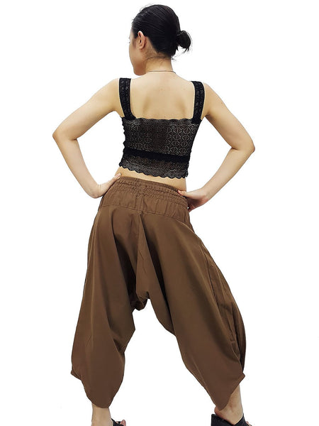 Samurai Pants Cotton Unisex Harem Pants Ninja Pants Aladdin Pants Maxi Pants Gypsy Pants Drop Crotch Pants Trouser Khaki Brown (MSPP3)