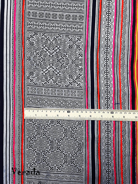 Thai Hand printed Fabric Natural Cotton Fabric by the yard Hmong Fabric Hill Tribe Fabric Vintage Fabric Indigo Batik White HF18