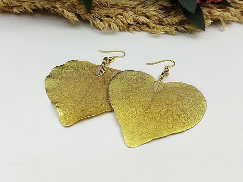 (ELF002G18) 18K Gold Unique Natural Real Leaf Earring Bohemian Jewelry Long Earring Dangle Earring Bridesmaid Gift For Mom Gift For Her