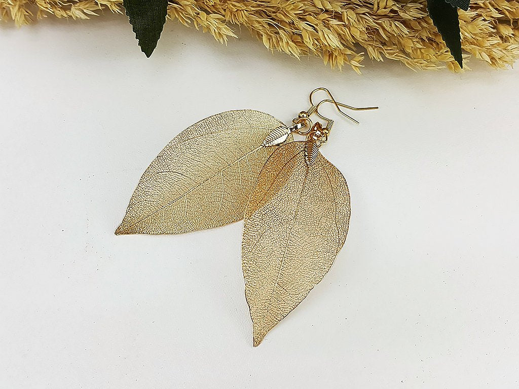 (ELF001KC) KC Gold Unique Natural Real Leaf Earring Bohemian Jewelry Long Earring Dangle Earring Bridesmaid Gift For Mom Gift For Her (L)