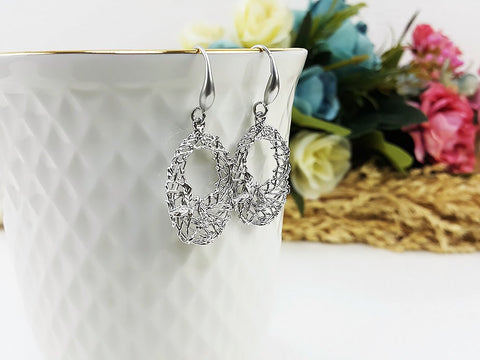 (EB0006SK) Matte Silver Earrings CZ Drop Earrings Dangles Earrings Wedding Jewelry Bridesmaid Earrings Gift For Mom Gift For Her