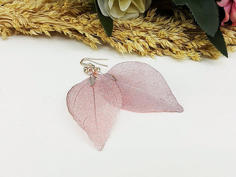 (ELF001PK) Pink Unique Natural Real Leaf Earring Bohemian Jewelry Long Earring Dangle Earring Bridesmaid Gift For Mom Gift For Her