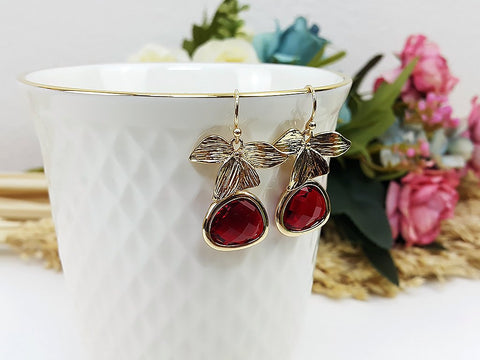 (EPDOO9C-2) Red Gold Earrings Drop Earrings Flower Dangles Earrings Glassstone Wedding Jewelry Bridesmaid Earrings Gift For Mom Gift For Her, Piida, HaremPantsThai