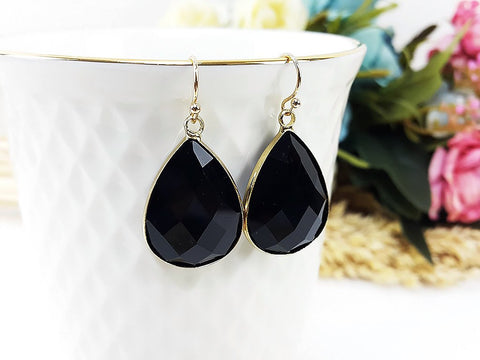 (EPD008C-2) Black Gold Earrings Drop Earrings Dangles Earrings Glassstone Wedding Jewelry Bridesmaid Earrings Gift For Mom Gift For Her, Piida, HaremPantsThai