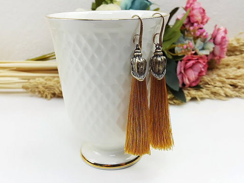 (EWFOO1BR) Brown Gold Long Tassel Earrings Drop Bohemian Pendientes Earrings Ethnic Jewelry Finge Tassel For Women Earrings Gift For Mom Gift For Her, Piida, HaremPantsThai