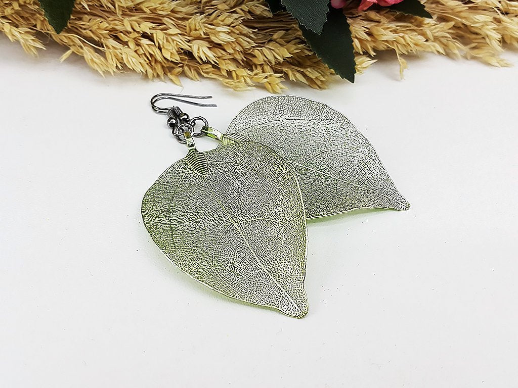 (ELF001GR) Green Unique Natural Real Leaf Earring Bohemian Jewelry Long Earring Dangle Earring Bridesmaid Gift For Mom Gift For Her