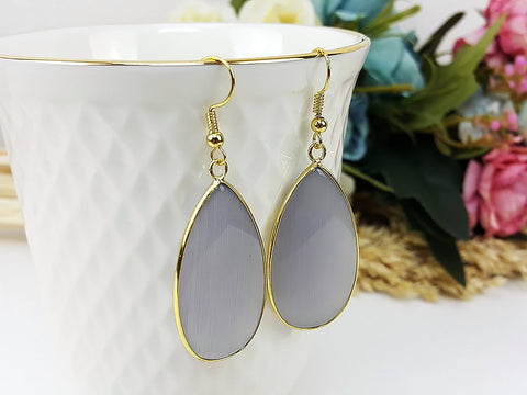(ETB0001D-6) Gray Quartz Water Drop Earrings Cat Eye Stone Earrings Jewelry Long Earrings Dangle Earring Bridesmaid Gift For Mom Gift For Her, Piida, HaremPantsThai