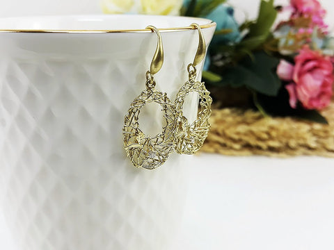 (EB006YK) Matte Gold Earrings CZ Drop Earrings Dangles Earrings Wedding Jewelry Bridesmaid Earrings Gift For Mom Gift For Her