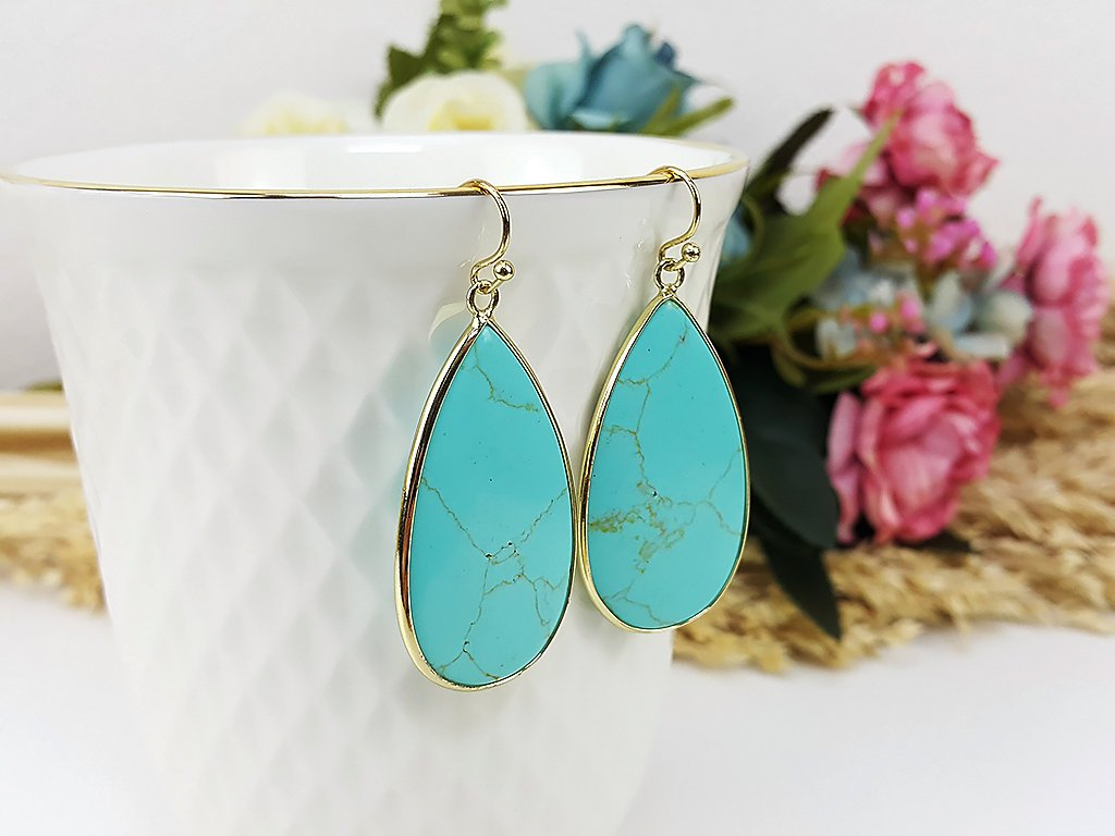 (ETB0001D-2) Turquoise Quartz Water Drop Earrings Stone Earrings Jewelry Long Earrings Dangle Earrings Bridesmaid Gift For Mom Gift For Her, Piida, HaremPantsThai