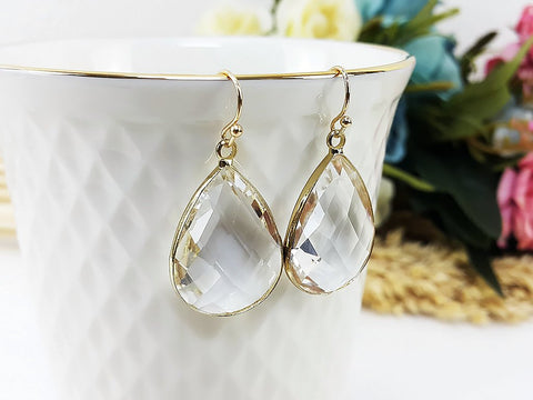 (EPD008C-1) Clear White Gold Earrings Drop Earrings Dangles Earrings Glassstone Wedding Jewelry Bridesmaid Earrings Gift For Mom Gift For Her, Piida, HaremPantsThai