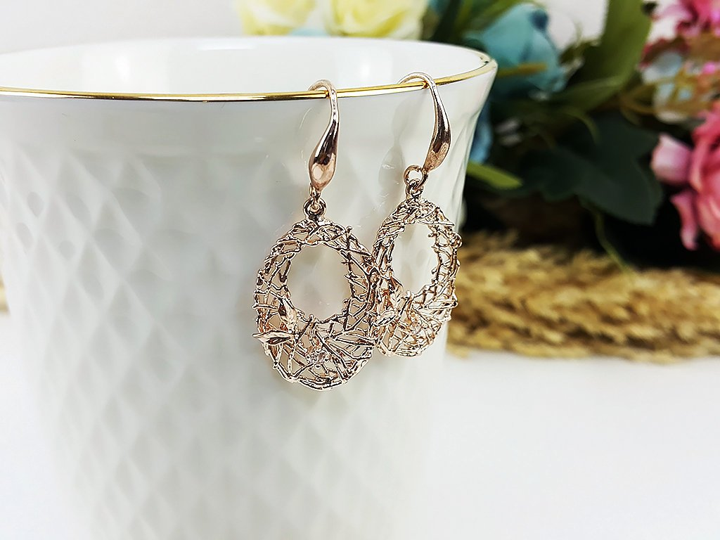 (EB0006PK) Rose Gold Earrings CZ Drop Earrings Dangles Earrings Wedding Jewelry Bridesmaid Earrings Gift For Mom Gift For Her