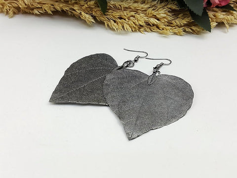 (ELF002GM) Gunmetal Unique Natural Real Leaf Earring Bohemian Jewelry Long Earring Dangle Earring Bridesmaid Gift For Mom Gift For Her