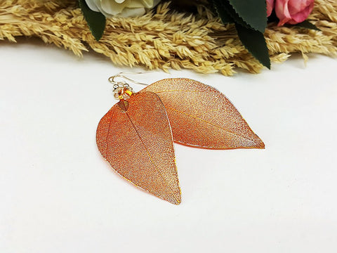 (ELF001OR) Orange Unique Natural Real Leaf Earring Bohemian Jewelry Long Earring Dangle Earring Bridesmaid Gift For Mom Gift For Her