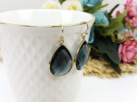 (EPD008C-3)Gray Gold Earrings Drop Earrings Dangles Earrings Glassstone Wedding Jewelry Bridesmaid Earrings Gift For Mom Gift For Her, Piida, HaremPantsThai