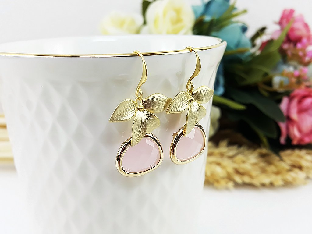 (EPDOO6C-1) Pink Matte Gold Earrings Drop Earrings Flower Dangles Earrings Glassstone Wedding Jewelry Bridesmaid Earrings Gift For Mom Gift For Her