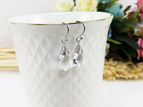 (EBM001C2) Clear Synthetic Crystal Earring Teardrop Pendant Wedding Jewelry Bridesmaid Gift For Mom Gift For Her, Piida, HaremPantsThai