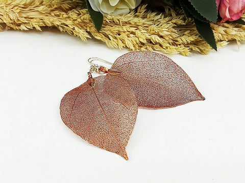 (ELF001CF) Coffee Unique Natural Real Leaf Earring Bohemian Jewelry Long Earring Dangle Earring Bridesmaid Gift For Mom Gift For Her