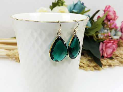 (EPD008C-6) Teal Green Gold Earrings Drop Earrings Dangles Earrings Glassstone Wedding Jewelry Bridesmaid Earrings Gift For Mom Gift For Her, Piida, HaremPantsThai