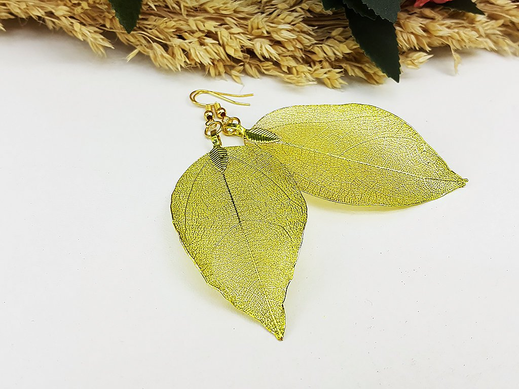 (ELF001YL) Yellow Unique Natural Real Leaf Earring Bohemian Jewelry Long Earring Dangle Earring Bridesmaid Gift For Mom Gift For Her