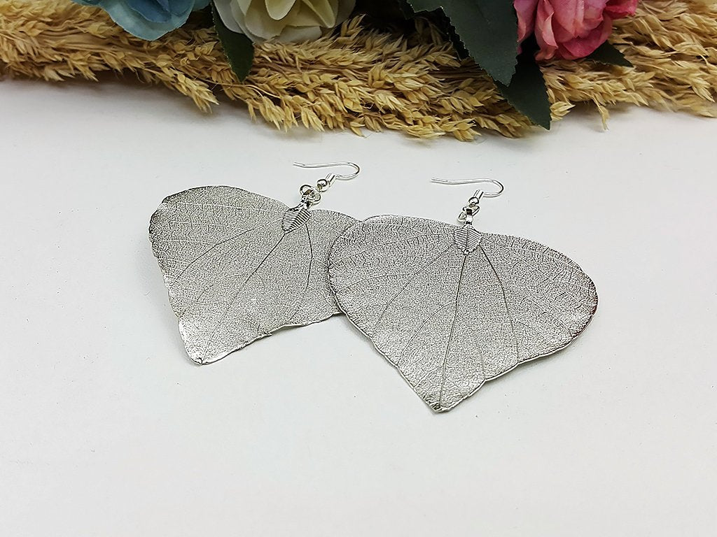 (ELF002RD) Rhodium Unique Natural Real Leaf Earring Bohemian Jewelry Long Earring Dangle Earring Bridesmaid Gift For Mom Gift For Her