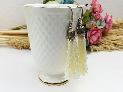 (EWFOO1IV) Ivory Gold Long Tassel Earrings Drop Bohemian Pendientes Earrings Ethnic Jewelry Finge Tassel For Women Earrings Gift For Mom Gift For Her, Piida, HaremPantsThai
