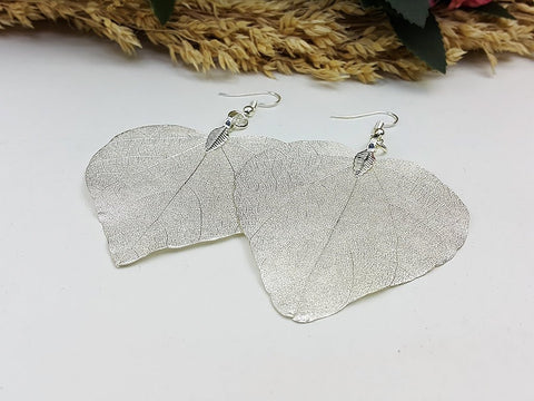 (ELF002SL) Silver Unique Natural Real Leaf Earring Bohemian Jewelry Long Earring Dangle Earring Bridesmaid Gift For Mom Gift For Her