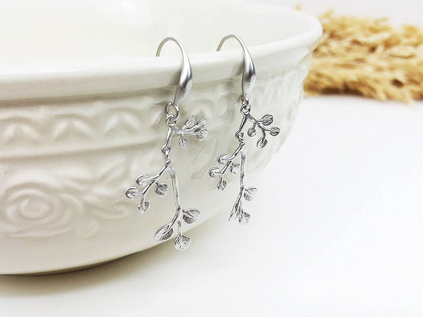Matte Silver Leaves Earrings Drop Earrings Dangles Earrings Wedding Jewelry Bridesmaid Earrings Gift For Mom Gift For Her (EBBO118SK)