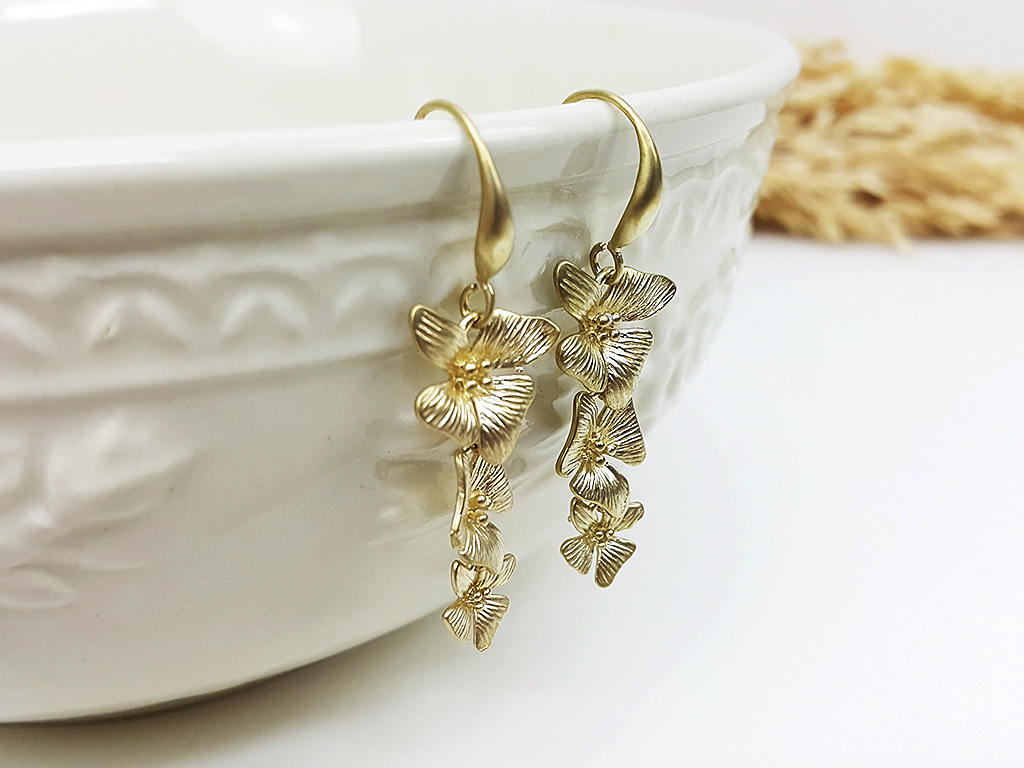 Matte Gold Flower Earrings Drop Earrings Dangles Earrings Wedding Jewelry Bridesmaid Earrings Gift For Mom Gift For Her (EBBO138YK)