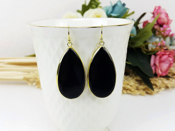 (ETB0001D) Black Quartz Water Drop Earring Cat Eye Stone Jewelry Long Earring Dangle Earring Bridesmaid Gift For Mom Gift For Her, Piida, HaremPantsThai