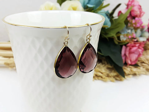 (EPD008C-4) Amethyst Purple Gold Earrings Drop Earrings Dangles Earrings Glassstone Wedding Jewelry Bridesmaid Earrings Gift For Mom Gift For Her, Piida, HaremPantsThai