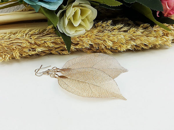(ELF001RG) Rose Gold Unique Natural Real Leaf Earring Bohemian Jewelry Long Earring Dangle Earring Bridesmaid Gift For Mom Gift For Her (L)