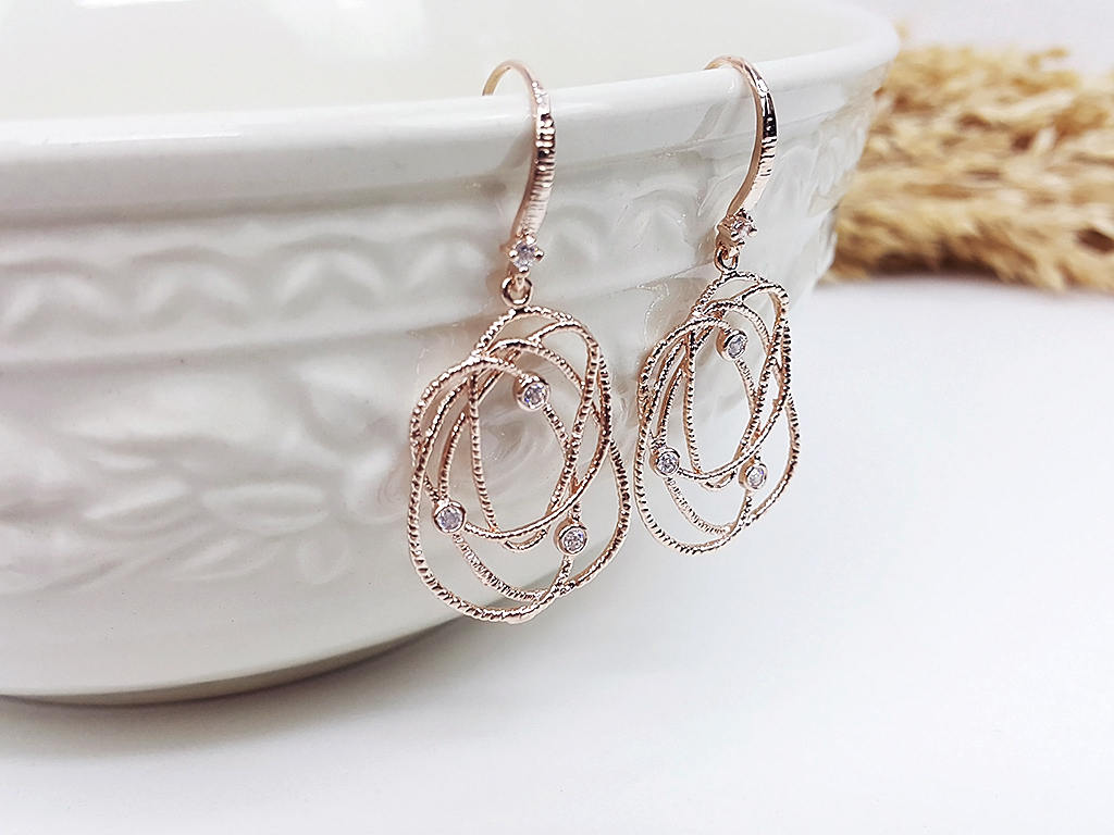 Rose Gold Earrings CZ Drop Earrings Dangles Earrings Wedding Jewelry Bridesmaid Earrings Gift For Mom Gift For Her (EBOO15PK)
