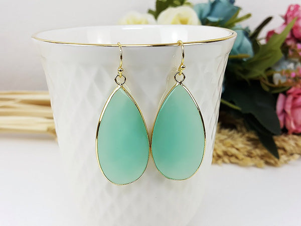 (ETB0001D-4) Green Aventurine Quartz Water Drop Earrings Cat Eye Stone Earrings Jewelry Long Earrings Dangle Earring Bridesmaid Gift For Mom Gift For Her, Piida, HaremPantsThai